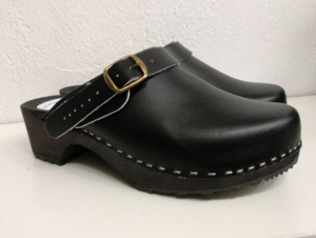 Bergen Sandgrens Swedish Wooden Clogs for Men with Leather Upper