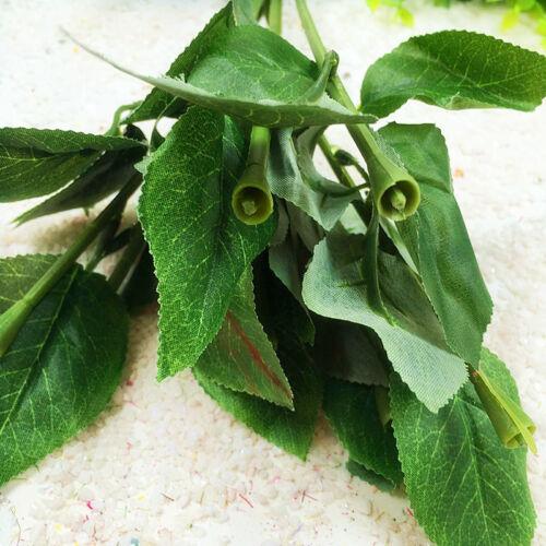 10 Pcs Artificial Rose Stem Plastic Fake Flower Leaves Stick Wedding Decor Tool