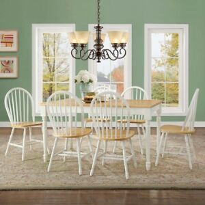 white 7pcs solid wooden dinette table set dining chairs country farm
