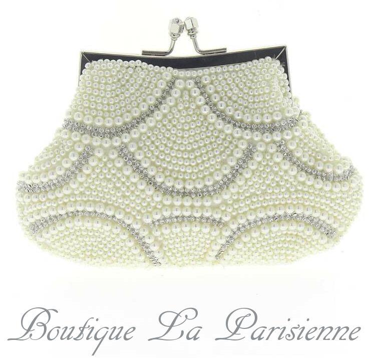 Luxus Abendtasche Handtasche Perlen Kristall Tasche Schultertasche Brauttasche Kleidung & Accessoires