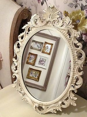 Pretty French Shabby Chic Dressing Table Mirror Ivory