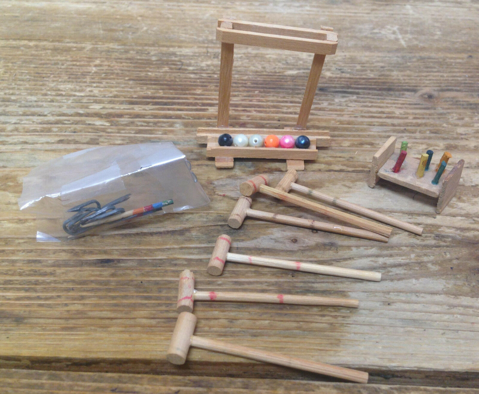 Vintage Doll House Dollhouse Miniature Wood Croquet Game Stand Balls Mallets  6