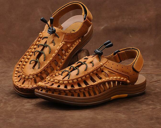 Men's Hollow Out Summer Beach Sandals Ankle Strap Shoes Rome Gladiator Leather