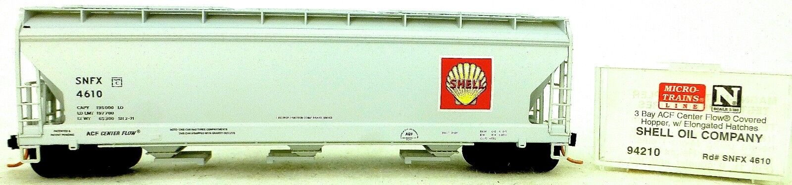 Micro Trains Line 94210 Shell Oil Company 3 Bay Appendix Center Flow hopp