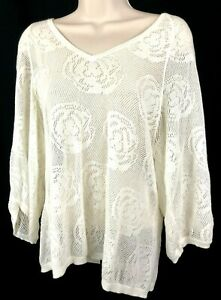 AG-Adriano-Goldschmied-Womens-XS-Crochet-Open-Stitch-Knit-Top-Cotton-Ivory