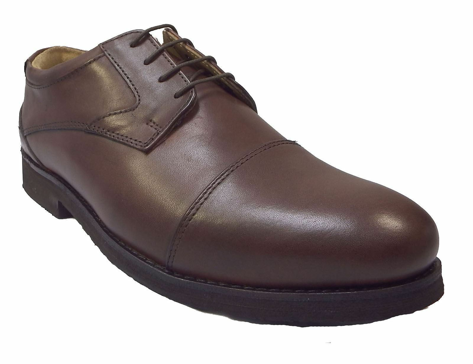 Tredflex Mens 24Seven Comfort Capped Gibson Tonal Mocha Brown Leather Shoes