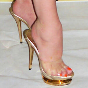 ed71bb17491 Details about PLEASER GOLD AND CLEAR STUNNING PLATFORM 6″ HEEL GLAMOUR  SHOES SIZES 4, 5 & 6