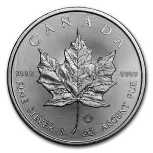 2018 1 oz Canadian Silver Maple Leaf $5 Coin 1 Troy Ounce of 9999 Fine Silver