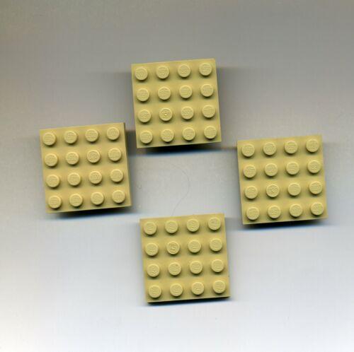 4 x 4 Tan Lego--3031 Bauplatte Grundplatte 4 Stück