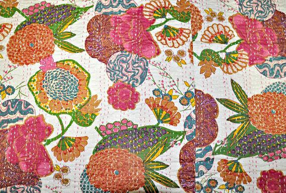 Indian Vintage fruit Print Kantha Quilts Cotton Blanket Single Handmade Bedding