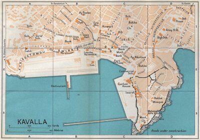 Kavala Vintage Town City Map Plan Macedonia Greece 1967 Old