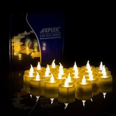 AGPtek 100 Battery Operated LED Flameless Flickering Flashing Tea Light Candle