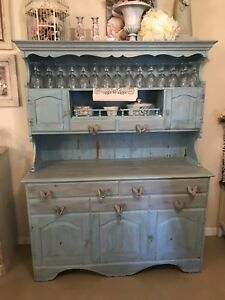 Vintage Shabby Chic Turquoise Distressed Cabinet China Hutch Ebay