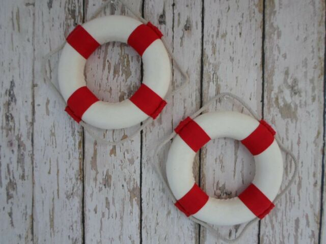 "(2) ~ 5.5"" Nautical Lifering Buoys ~ Red & White ~ Life Ring Preserver Float"