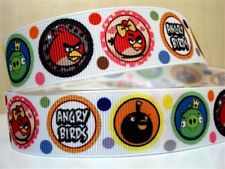 1 METRE ANGRY BIRDS CIRCLES RIBBON 7/8 BOWS HEADBANDS HAIR CLIPS BIRTHDAY CAKE