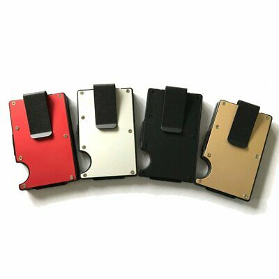 RFID Blocking Slim Ridged Edge ID Card Holder Wallet with Money Clip Anti Thief