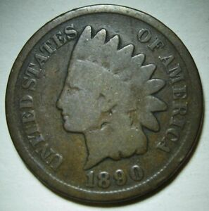 1890-Indian-Head-Cent-in-Average-Circulated-Condition-DUTCH-AUCTION