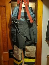Quaker Safety Fire Fighter Turnout Pants 44 X 28 Black Bunker Gear Suspenders