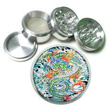 Tattoo Dragon Asian Art Metal Silver Aluminum Grinder D46 63mm Herb Spice