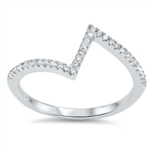 Modern Zig Zag Cz .925 Sterling Silver Ring Sizes 4-10 Unique