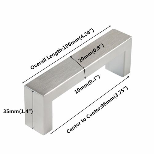 Square Stainless Steel Kitchen Cabinet Handle Door Drawer Pulls Konbs 10mm*20mm