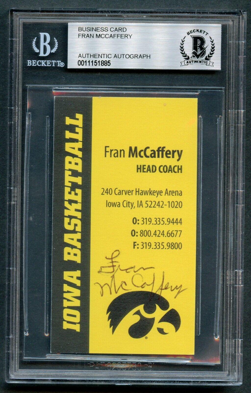 Fran Mccaffery Autógrafo Firmado Auto Iowa Baloncesto Tarjeta de Visita Bas O