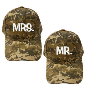 0c28bc606c3bf Details about Digital Camo Camouflage Military Army Mr.   Mrs. Caps Hats  Bride   Groom Wedding