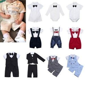Newborn Baby Boy Gentleman Outfit Bow Tie Romper Top Suspenders Shorts 3pcs Set