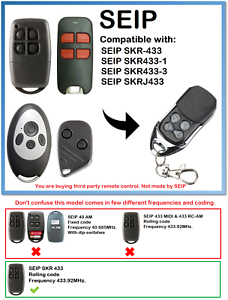 Seip Skr-433, Skr433-1, Skr433-3, Seip Skrj Compatible Remote Control 433.92 Mhz.-afficher Le Titre D'origine êTre Nouveau Dans La Conception