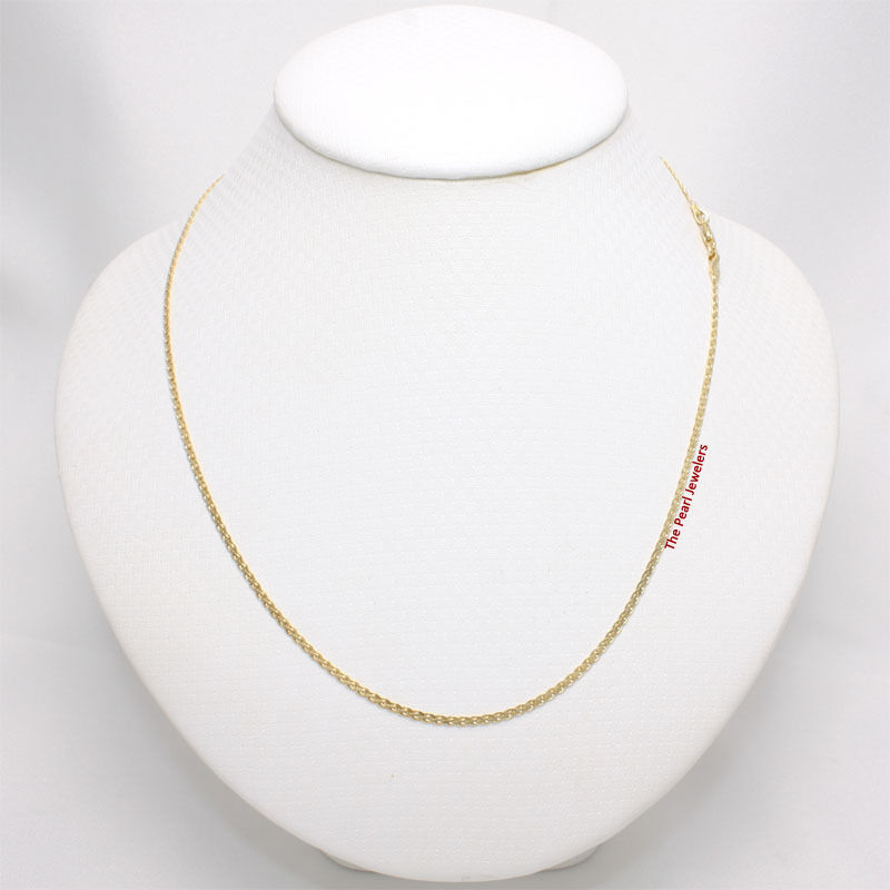14k Solid Yellow Gold Square Wheat Style 1.3mm Chain Necklace TPJ