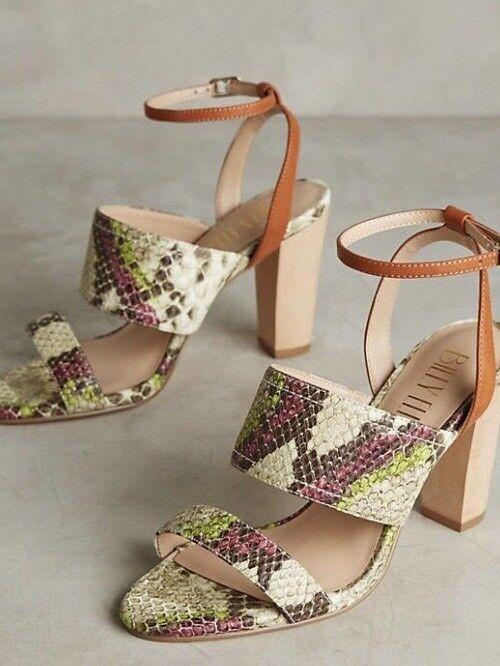 NEU Anthropologie Billy Ella Snake Print Wood Heels Sandales Sz: 9.5 NWOB