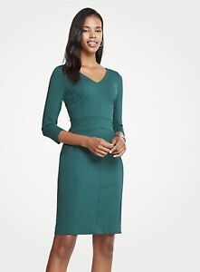 Details About Nwt Ann Taylor 3 4 Sleeve Ponte Sheath V Neck Dress Size 10 P Green