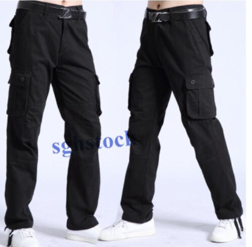 Mens Cotton Casual Outdoor Overalls Cargo Long Trousers Pocket Military Pants SZ