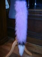 Lilac Fancy Dress Clip On Fox Tail With White/Black Luxury Fur Trim Fancy Dress