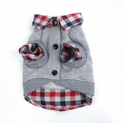 Dog Cat Grid Sweater Puppy Warm Coat T-Shirt Pet Clothes  Shirt Dog Apparel