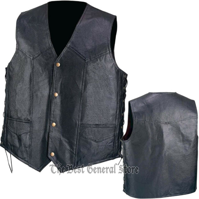 Mens Black Pebble Grain Leather Vest Waistcoat with Lace-Up Sides Lined