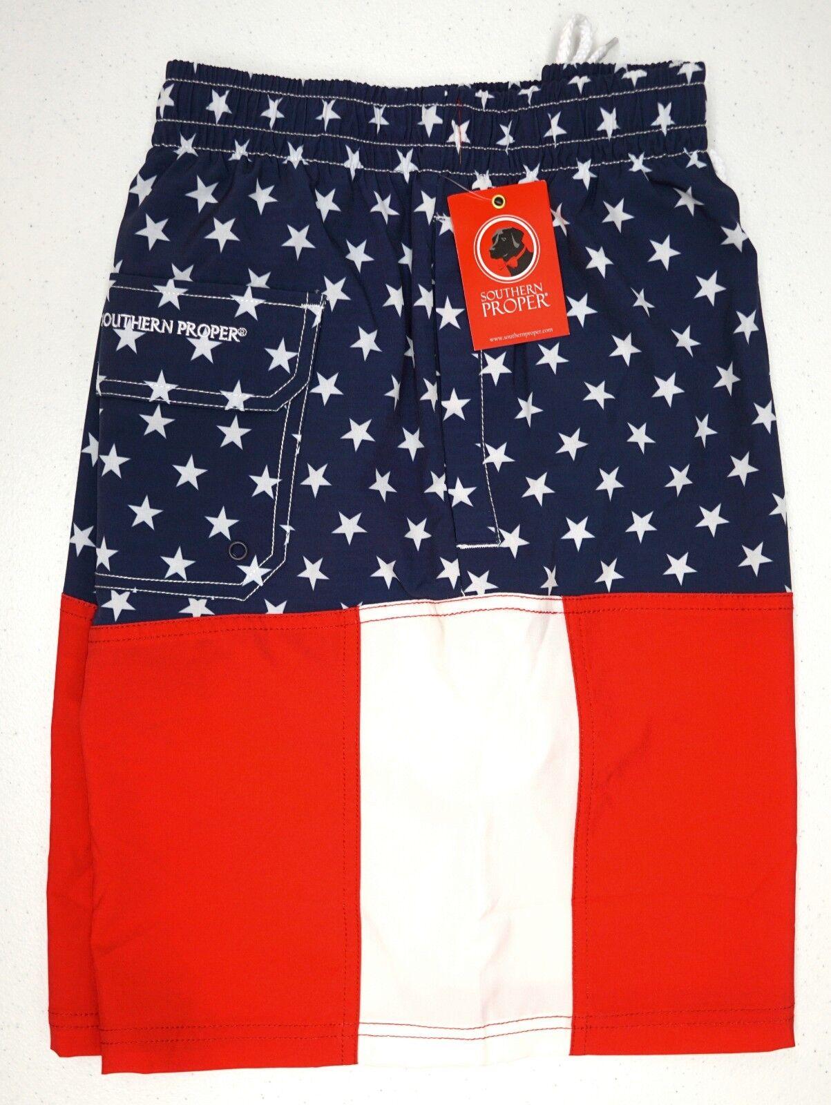 NWT  Southern Proper Red White bluee Stars Stripes Swim Trunks Mens XL XXL NEW