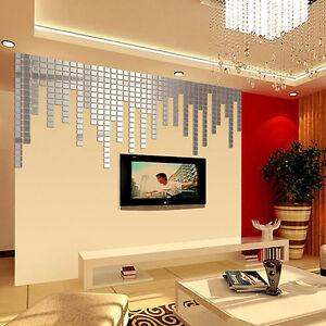 100-Pcs-3D-DIY-Mosaik-Acryl-Spiegel-Wandtattoo-Wandsticker-Wanddeko-aufkleber