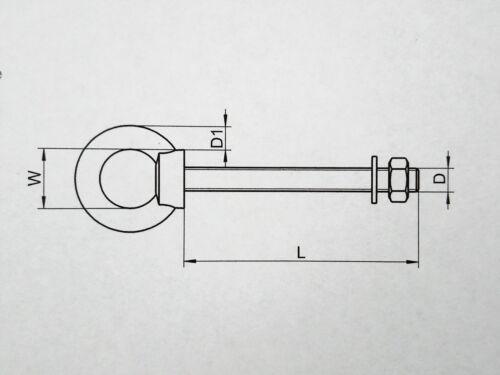 1 Stück Augbolzen Ringbolzen Ringschraube EDELSTAHL A4 M6X60 metrisches Gewinde
