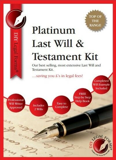 'TOP OF THE RANGE',  LAST WILL AND TESTAMENT KIT, 2019 PLATINUM Edition, for TWO
