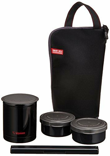 ZOJIRUSHI Thermal Bento lunch box with carry bag Black Japan Free shipping
