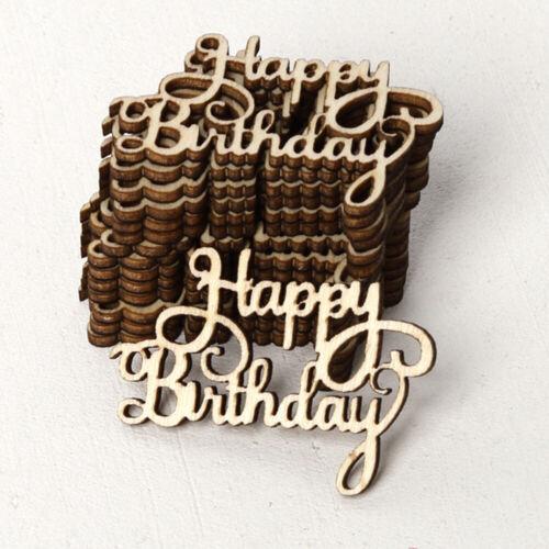 Laser Cut Wood DIY Crafts Wooden Slice Happy Birthday Hanging Ornaments