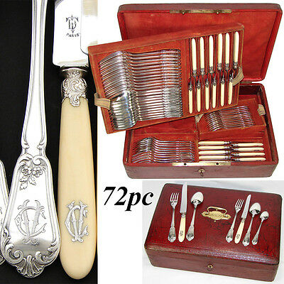 Antique French Sterling Silver 72pc Flatware Set, Ornate Louis XVI Style, Chest