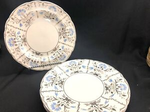 Wedgwood-Papyrus-Bone-China-Silver-amp-Blue-Dinner-Plates-Set-of-4-Excellent-4080