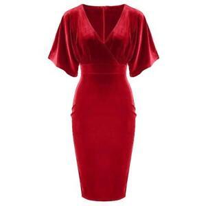 buy popular bb5db b49e2 Dettagli su Velluto Rosso Vintage Mezza Maniche a Pipistrello Top  Incrociato Festa Abito