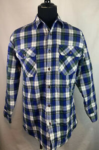 WOOLRICH-Quilted-Insulated-Lined-Plaid-Flannel-Shirt-Mens-Size-Medium