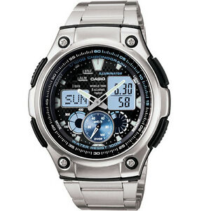 Casio-AQ190WD-1AV-Digital-Analog-Combo-5-Alarms-Chronograph-Silvertone-Band