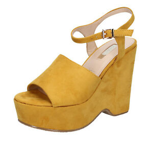 scarpe donna GUESS 37 EU sandali giallo camoscio AB837C