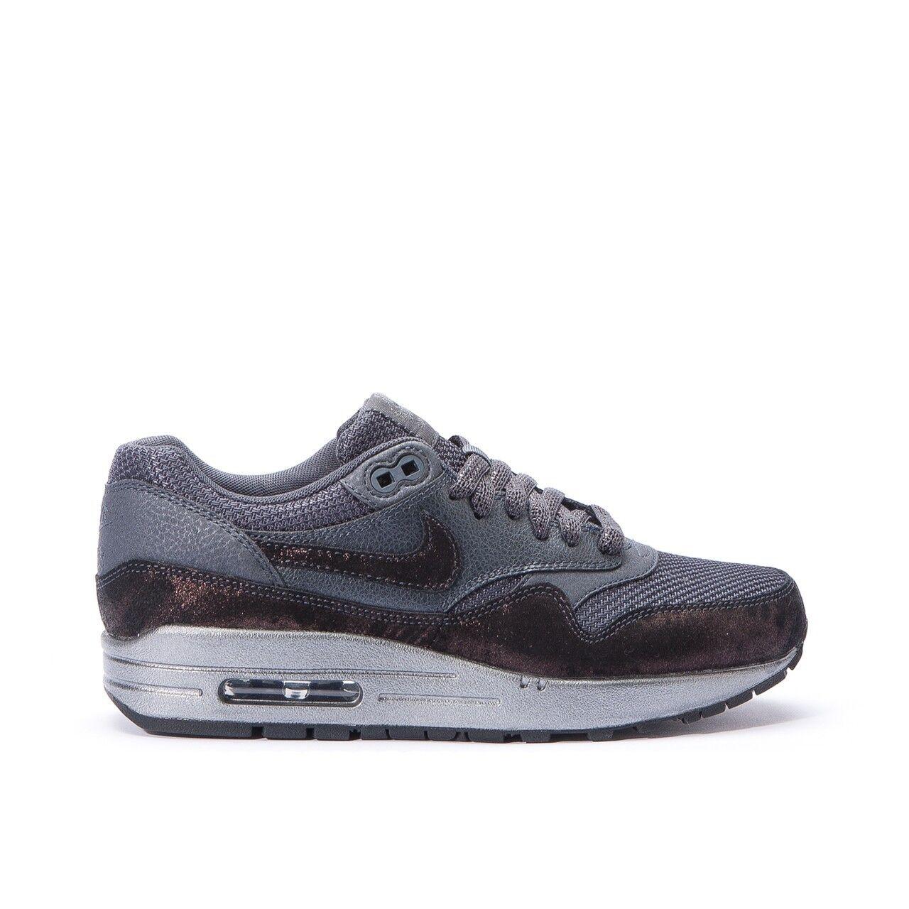 WMNS Nike Air Max 1 PRM SZ 8.5 Anthracite Metallic Hematite Noir 454746-007