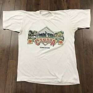 Details about Vintage Vtg 90\u0027s Edmonton Canada Graphic T Shirt Sz M Thin  Single Stitch Tee